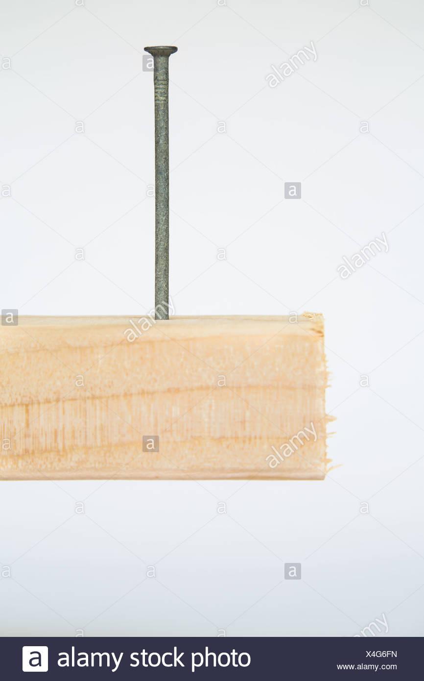 Washington State USA metal nail in block of Spruce wood 2x4 wood plank - Stock Image