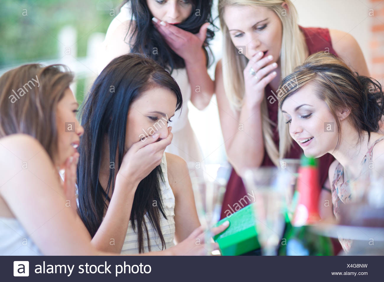 Female friends giving birthday gift - Stock Image