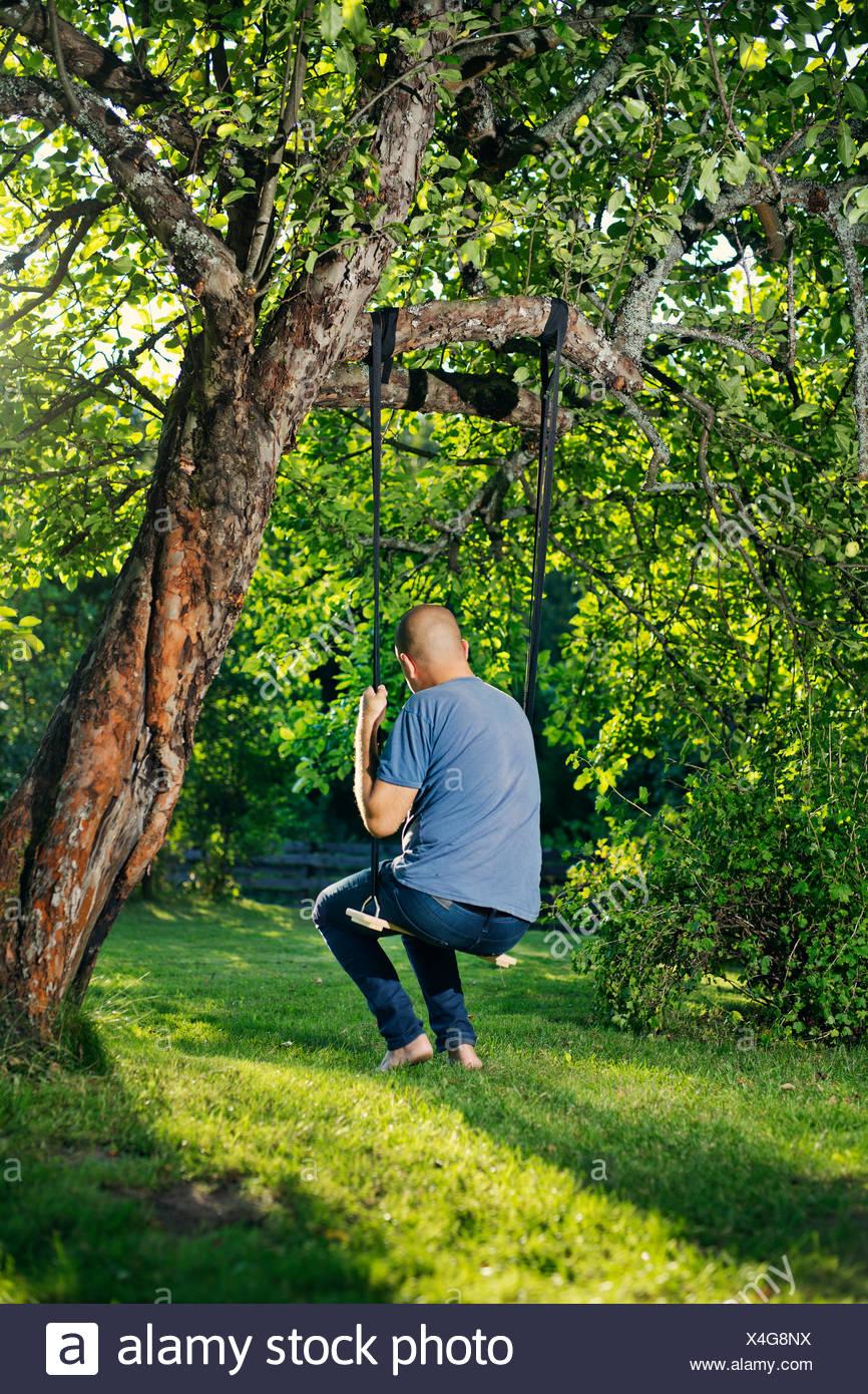 Man sitting on tree swing - Stock Image
