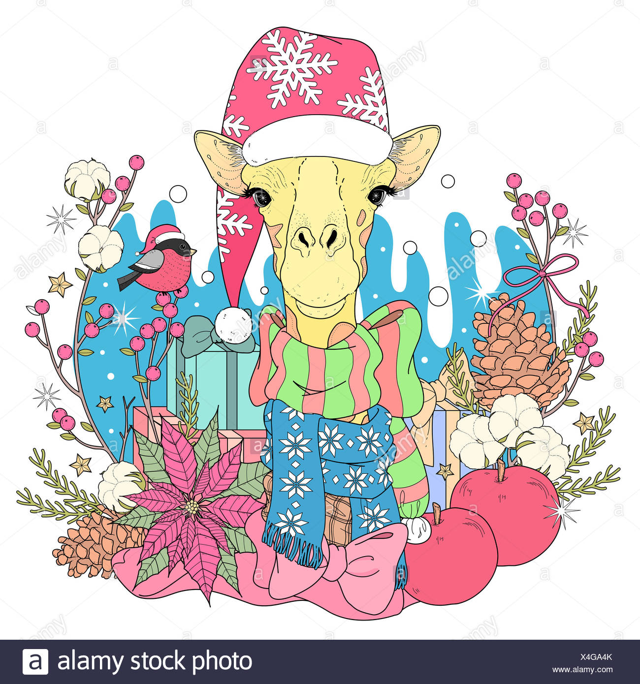 Christmas giraffe coloring page with decorations in exquisite line ...