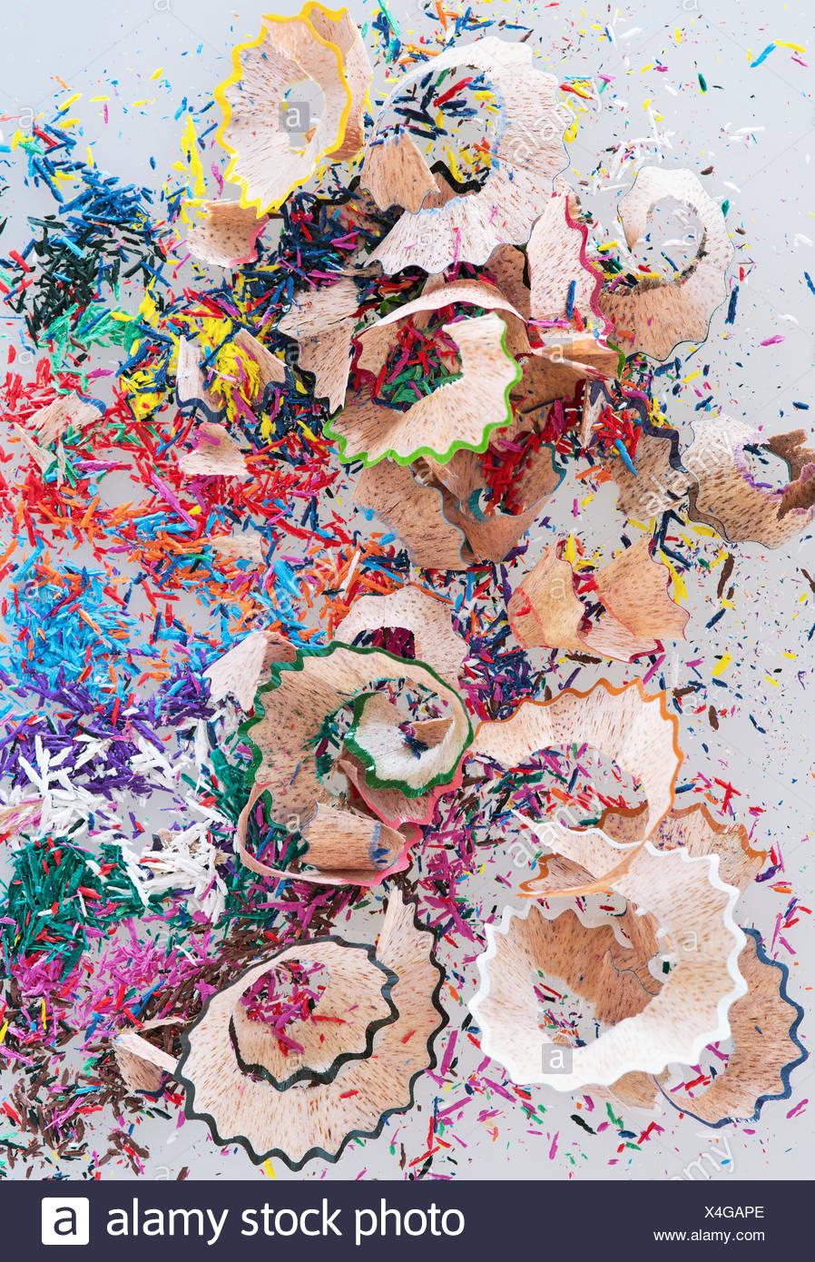 Studio shot of multi colored pencil shavings - Stock Image