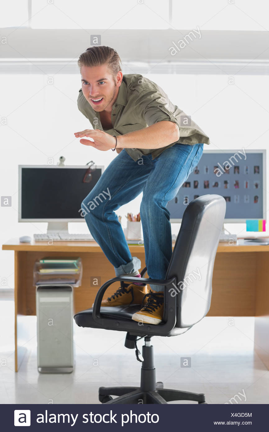 Awe Inspiring Handsome Man Surfing His Office Chair Stock Photo 278186096 Pabps2019 Chair Design Images Pabps2019Com