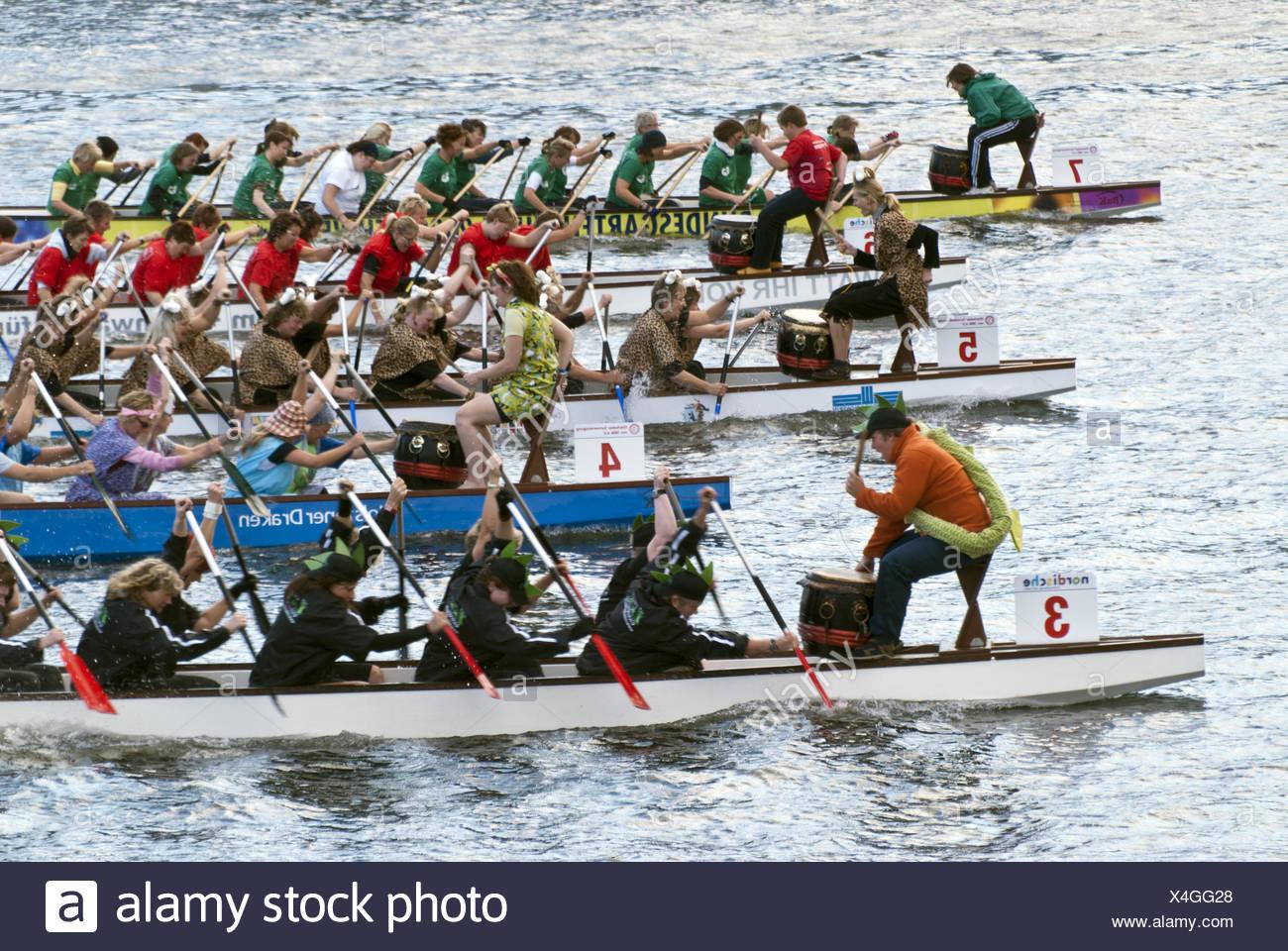 Dragon Boat Race in Kiel, Germany - Stock Image