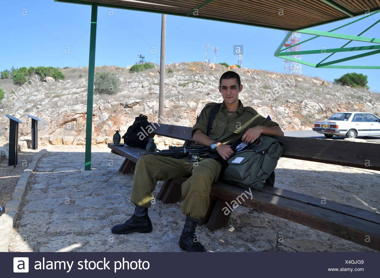 Israel, Upper Galilee, Metula, Israeli soldiers on tour at the Dado lookout on the Lebanese border Stock Photo
