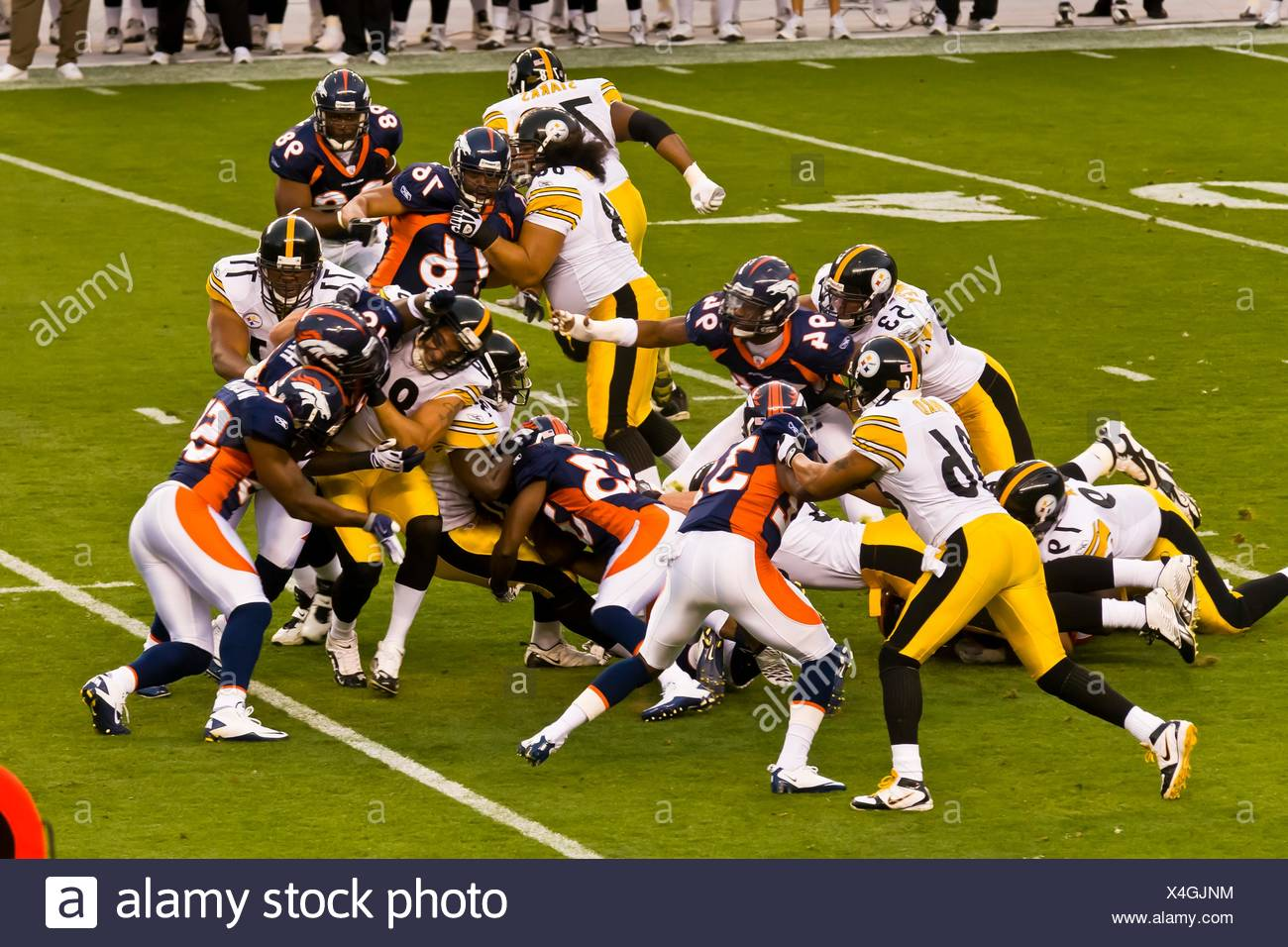 Denver Broncos vs  Pittsburgh Steelers NFL football game, Invesco Field at Mile High stadium, Denver, Colorado USA - Stock Image