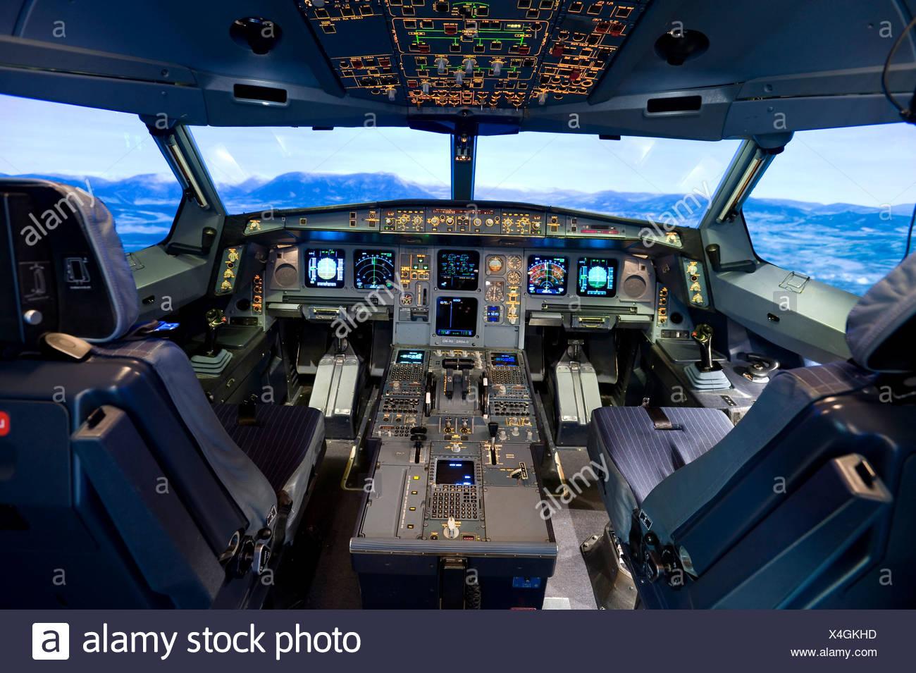 Zentrum fuer Flugsimulation Flight Simulation Center Berlin, ZFB, cockpit of an Airbus A330/340 flight simulator, Berlin, Germa - Stock Image