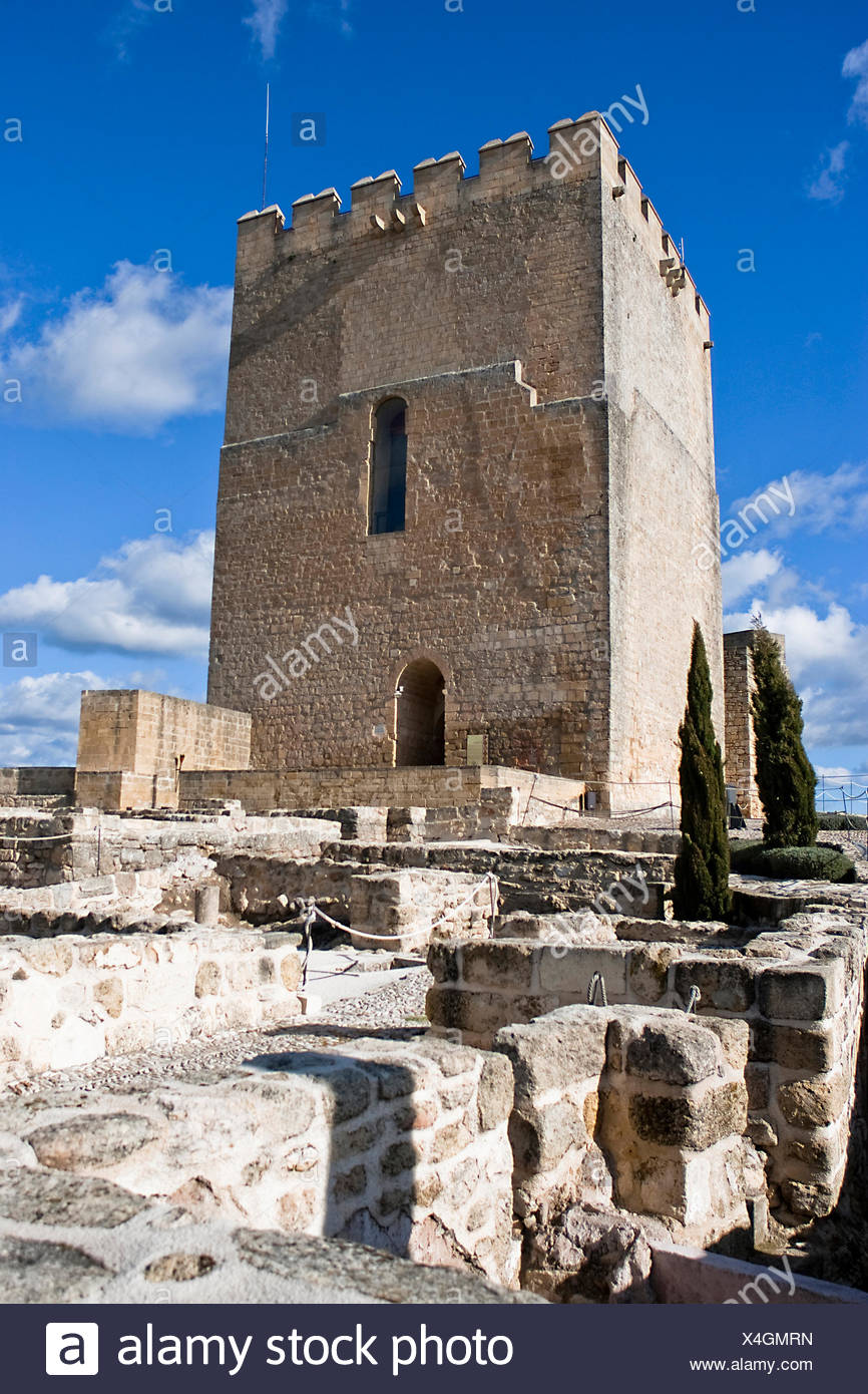 Archaelogical remains and the Keep - Stock Image