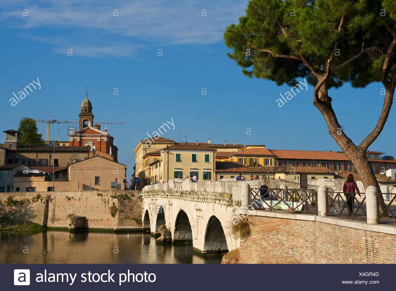 Adriatic, Italy, Europe, outside, day, nobody, Emilia-Romagna, Tiberius bridge, arch bridge, bridge, Achitektur, Rimini - Stock Image
