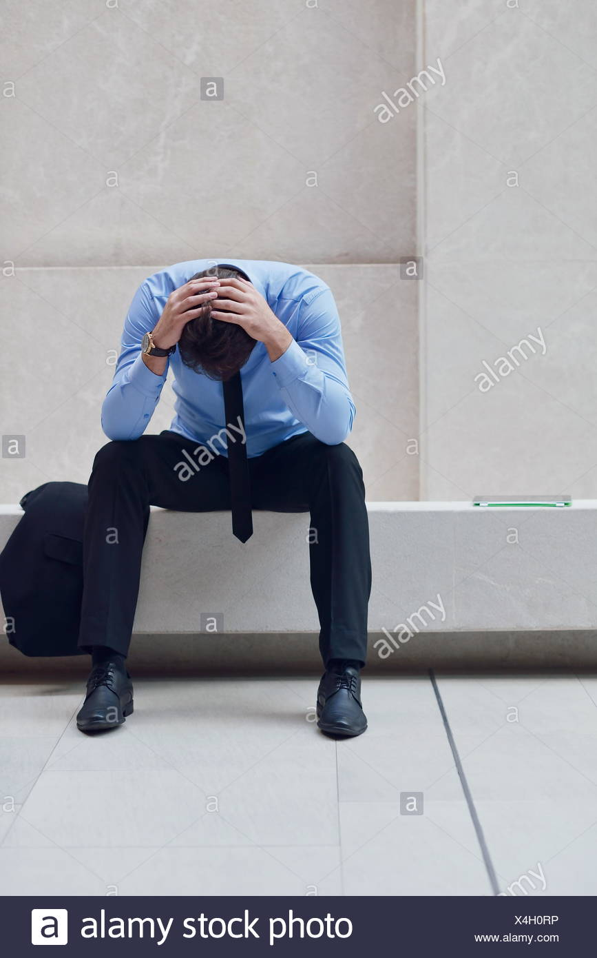 frustrated young business man - Stock Image