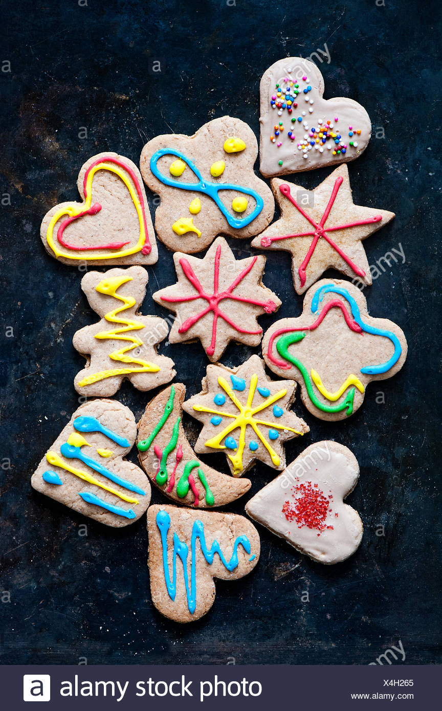 Still life with variety of decorated gingerbread cookies - Stock Image