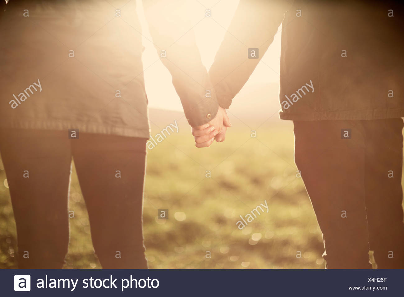Mid section of couple, holding hands - Stock Image