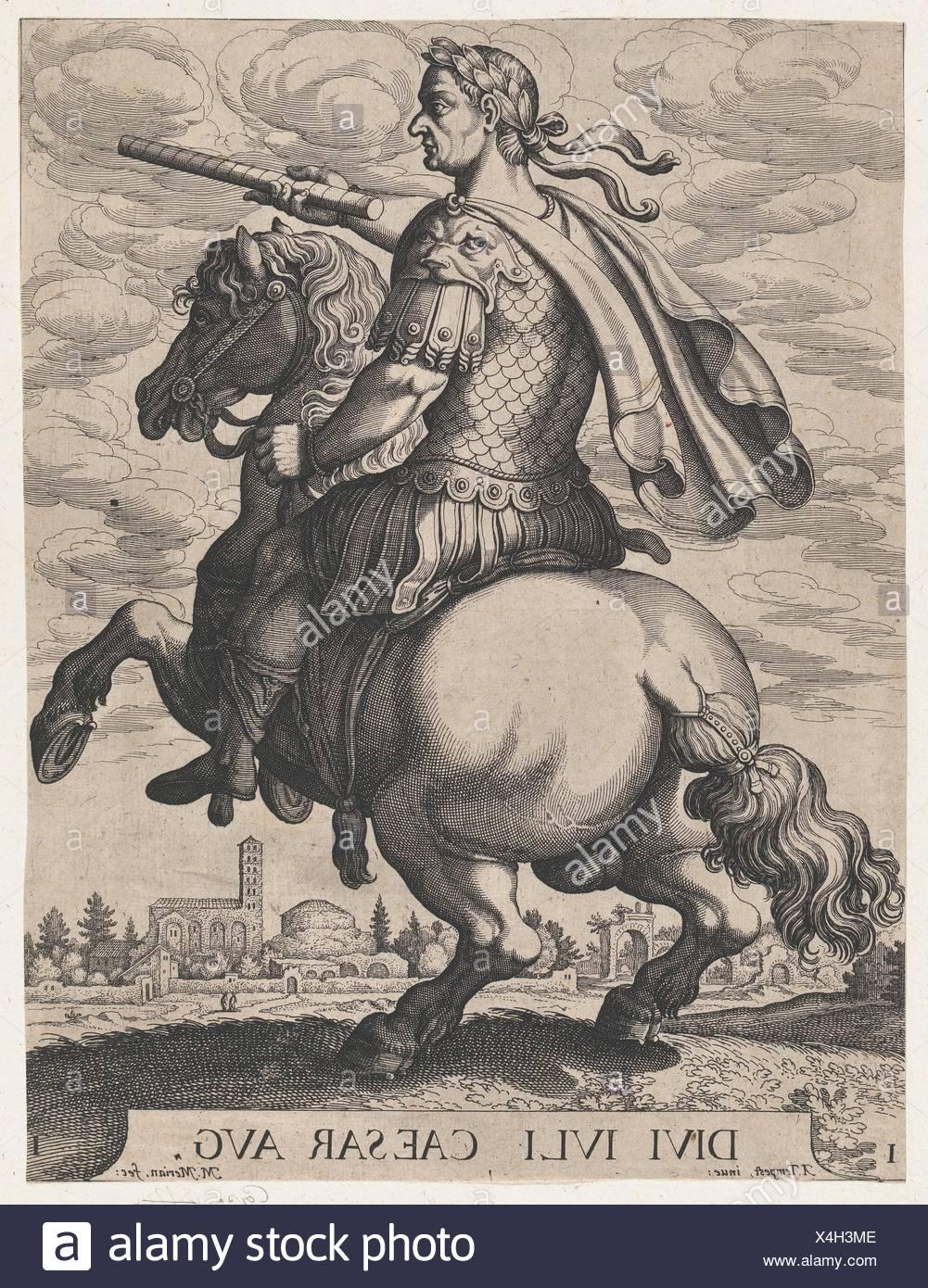 Plate 1: Emperor Julius Caesar on Horseback, from ´ The First Twelve Roman Caesars´, after Tempesta. Artist: Matthäus Merian the Elder (Swiss, Basel Stock Photo