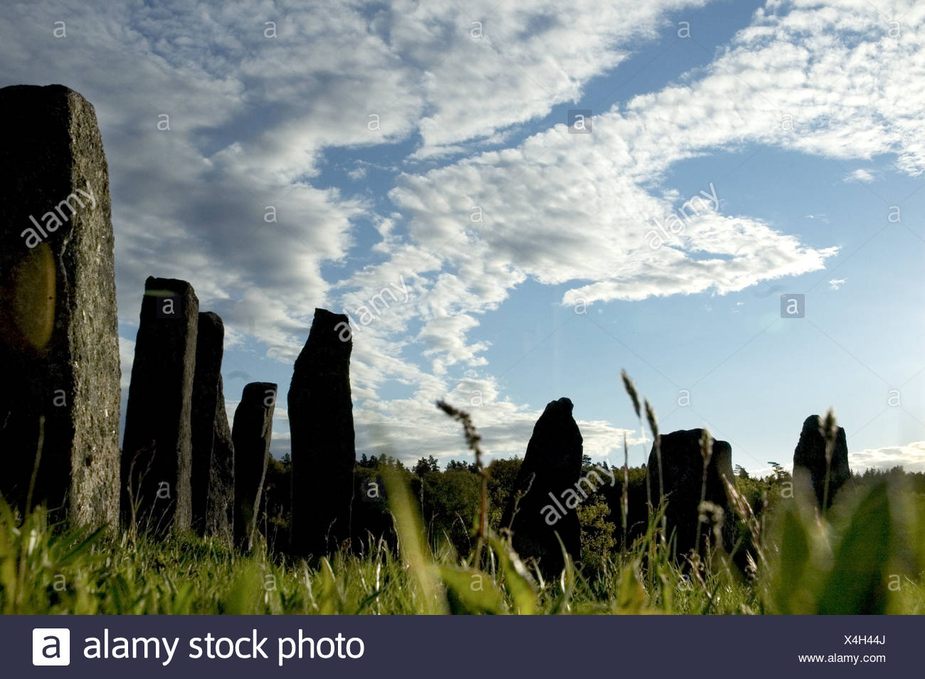 Rock formations in a grave, Vastkusten, Bohuslan, Sweden - Stock Image
