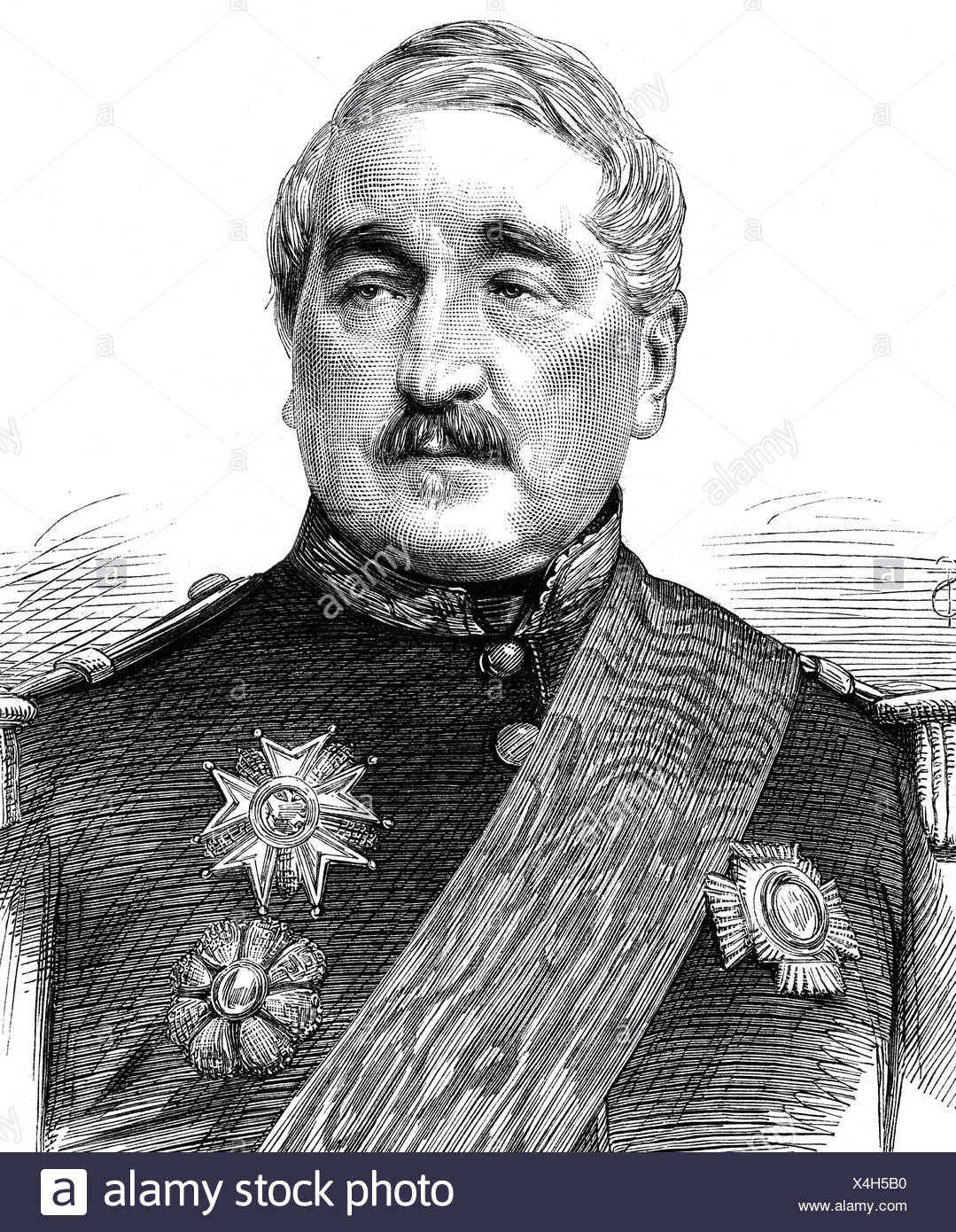Cousin-Montauban, Charles, 24.6.1796 - 8.1.1878, French general and politician, Prime Minister 9.8.1870 - 4.9.1870, portrait, wood engraving, 1870, , Additional-Rights-Clearances-NA - Stock Image