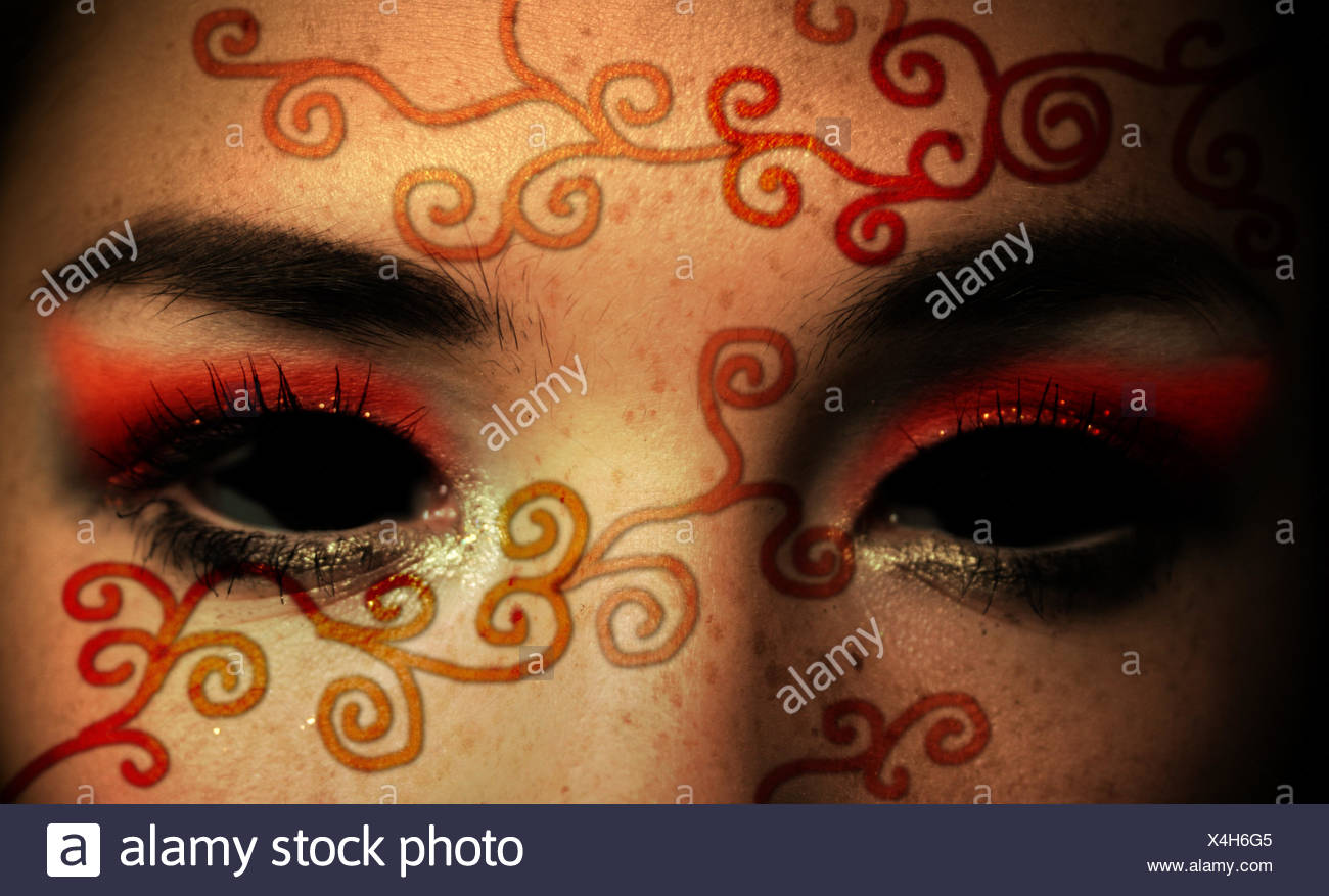 woman cold face sad eyes emptiness void loneliness asiatic mourning sorrow - Stock Image