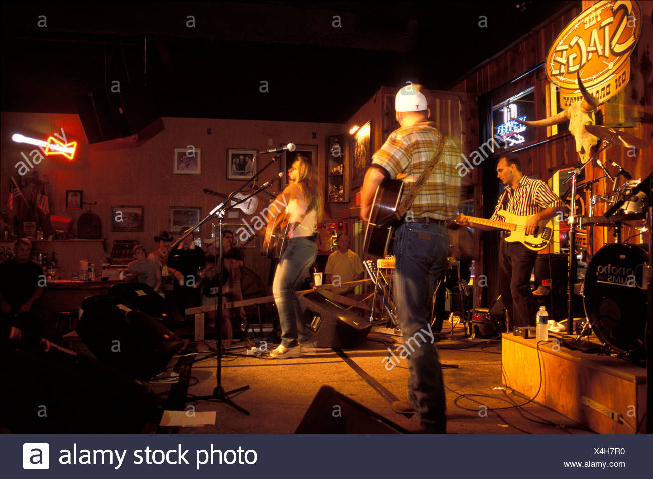 bar Broadway concert Country volume cowboy Downtown entertainment exit inside listener music Music club - Stock Image