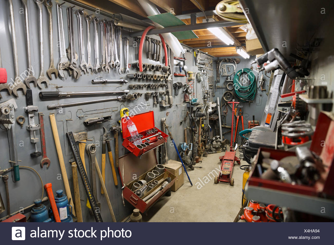 Organized tools at gas plant - Stock Image