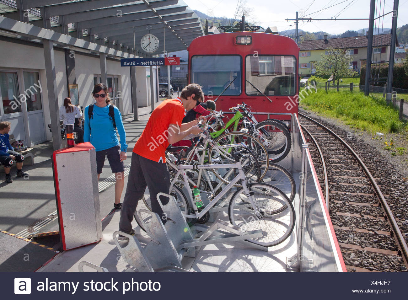 Veloverlad, old sites, road, railway, train, railroad, canton, SG, St. Gallen, bicycle, bicycles, bike, riding a bicycle, Switze - Stock Image