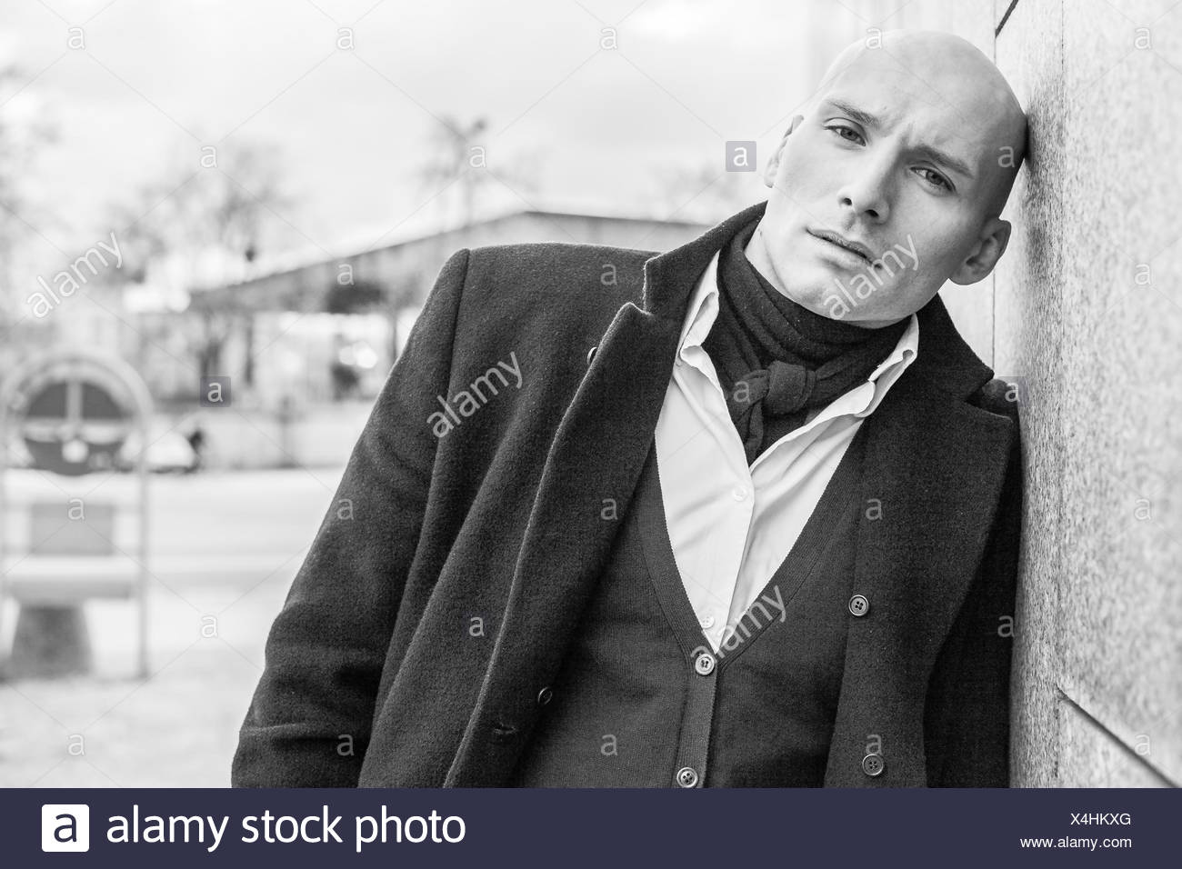 Portrait of oldfashioned man - Stock Image