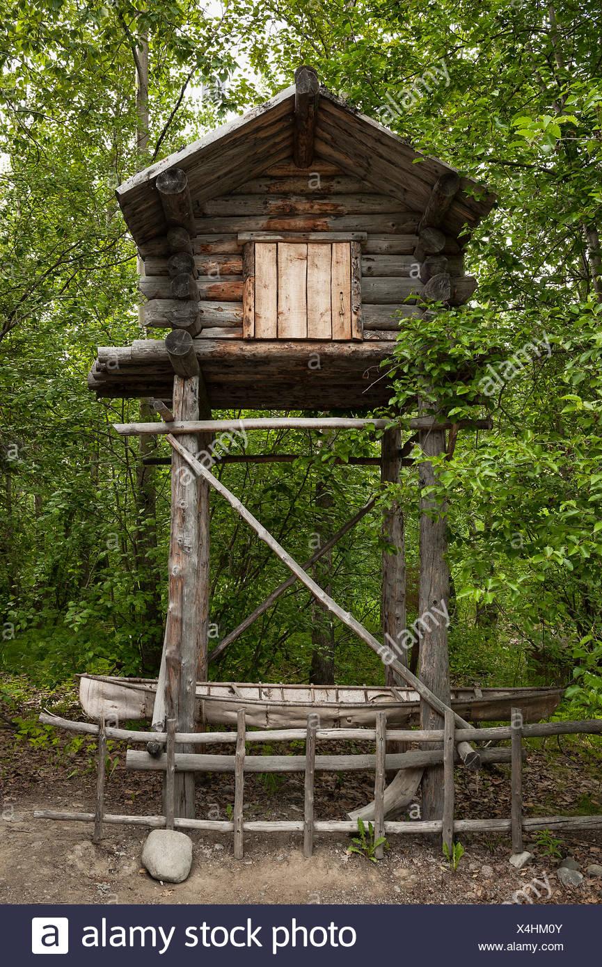 Traditional food cache, Athabascan, the Native Alaskan Heritage Center, Anchorage, Alaska, USA - Stock Image