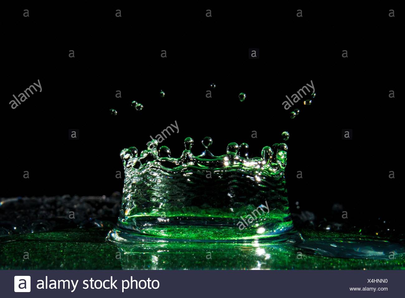 Water Crown splashing in water - Stock Image