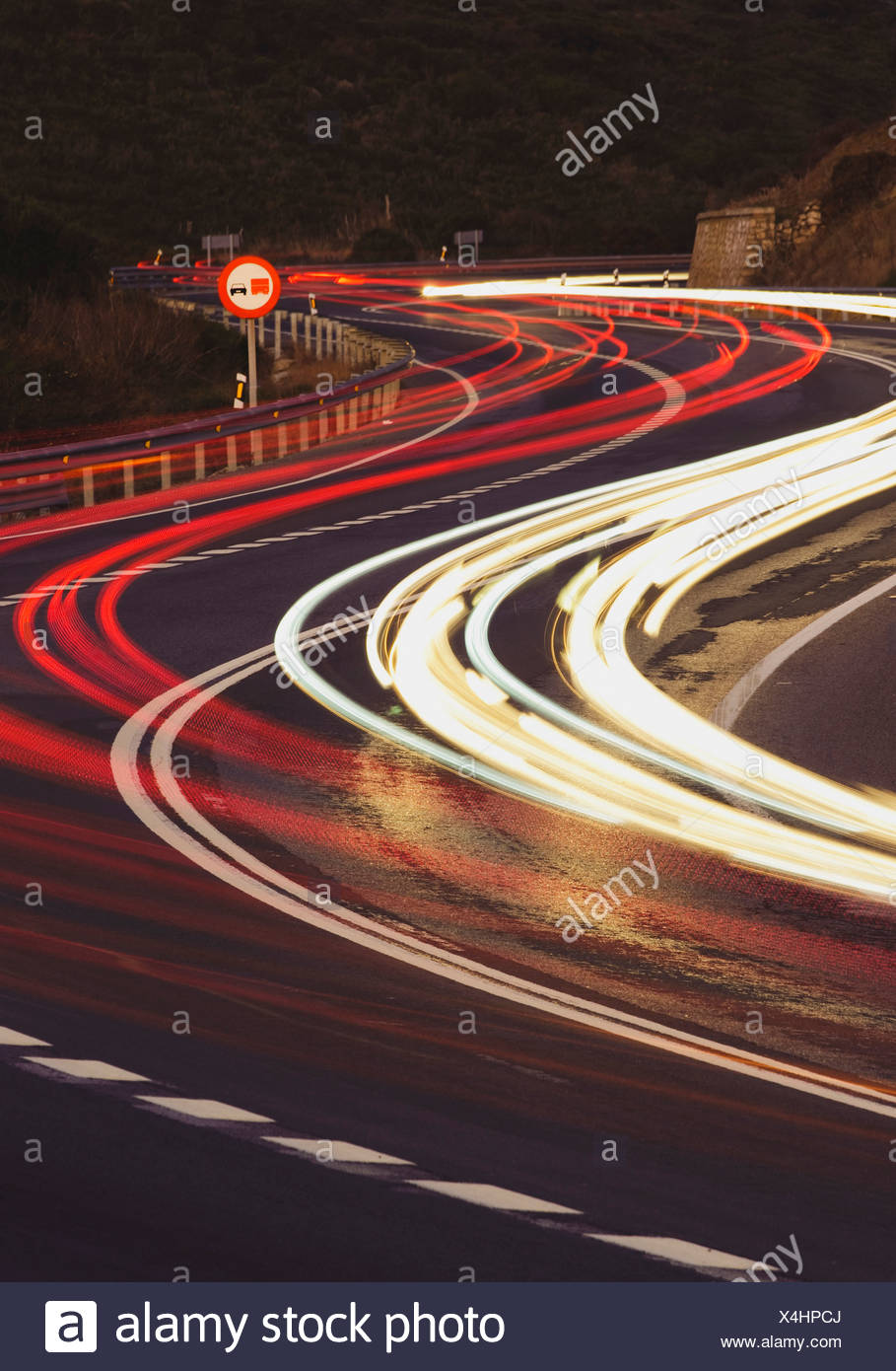 Vehicle Lights On A Road - Stock Image