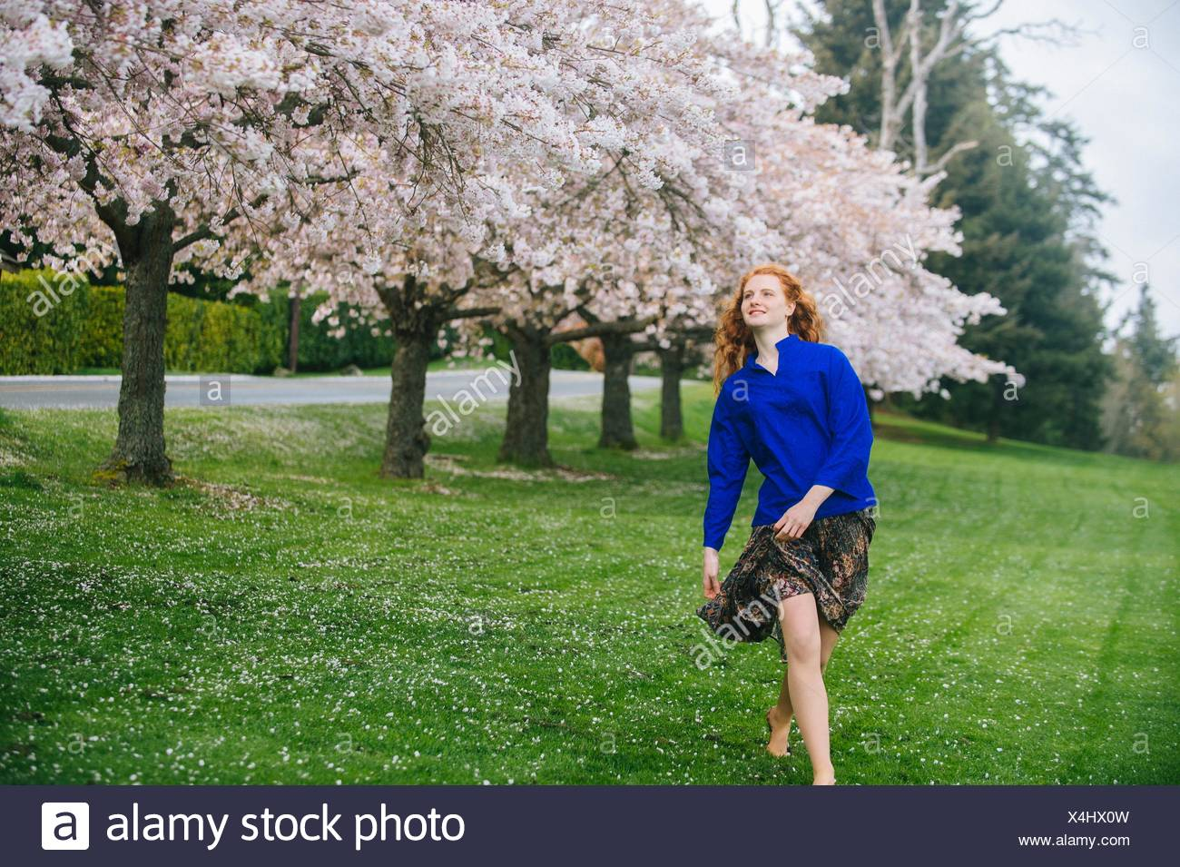 Young woman dancing barefoot in spring park - Stock Image