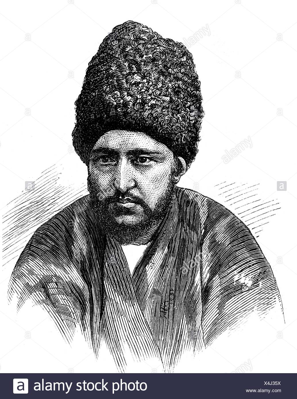 Seyyid Muhammad Rahim Khan II, + 1910, Prince of Xiva since 1868, portrait, wood engraving, 2nd half of the 19th century, Additional-Rights-Clearances-NA Stock Photo