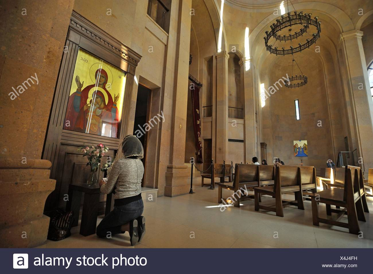recollection inside Saint Anna Church adjacent to the 13th-century Katoghike ChurchKatoghike Holy Mother of God Church, Yerevan, Armenia, Eurasia. - Stock Image