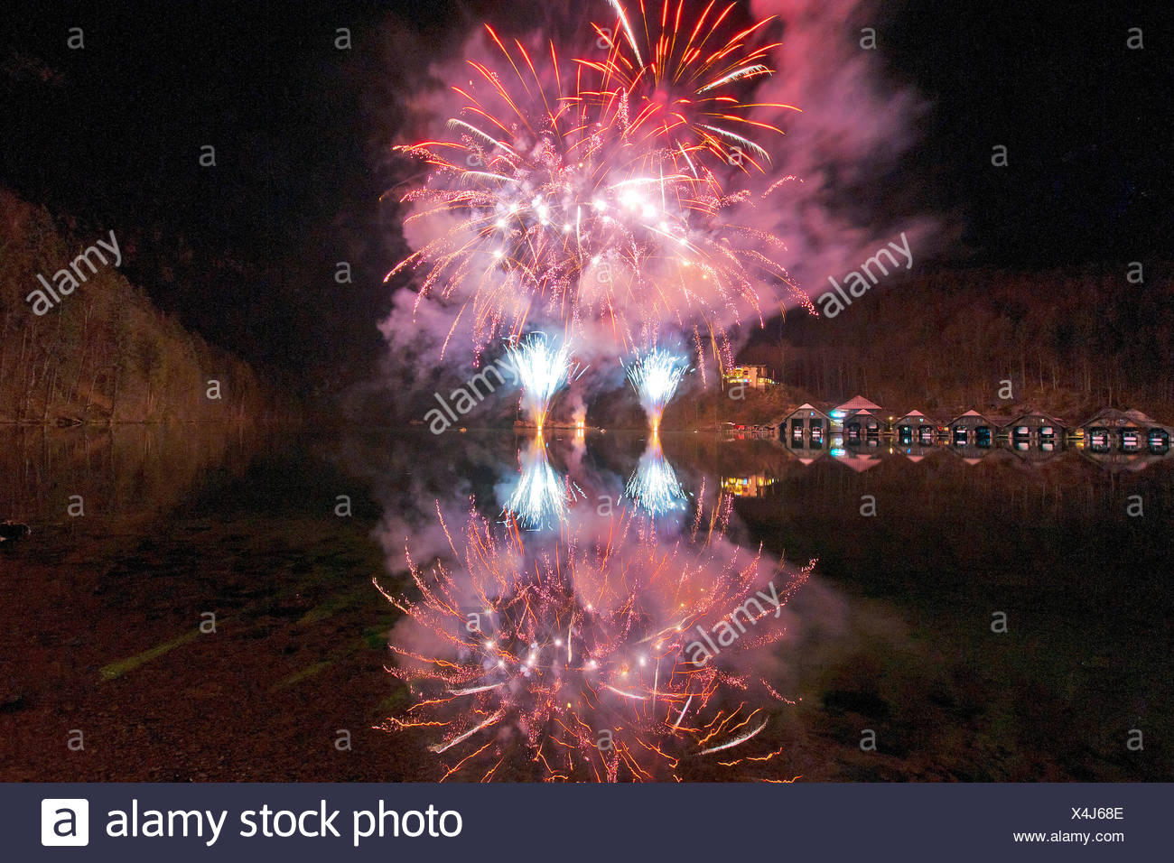 Fires, fireworks, pyrotechnics, rockets, rays, beams, explode, explosion, sky, night, lights, Berchtesgaden, Bavaria, Germany, K - Stock Image