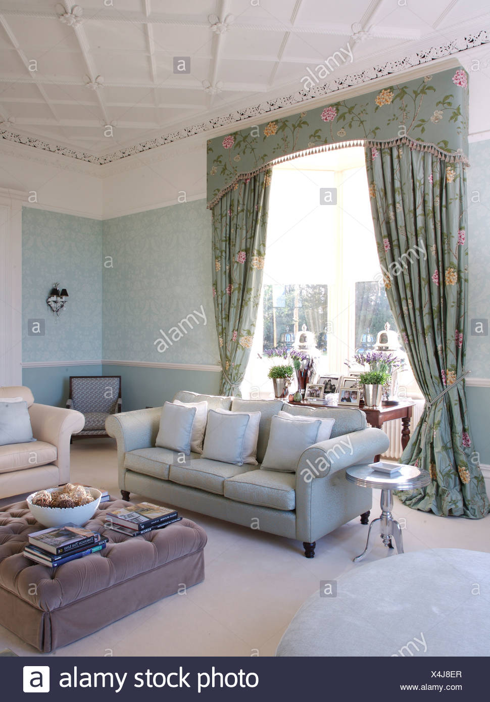 Blue Pink Floral Curtains In Pale Blue Living Room With With