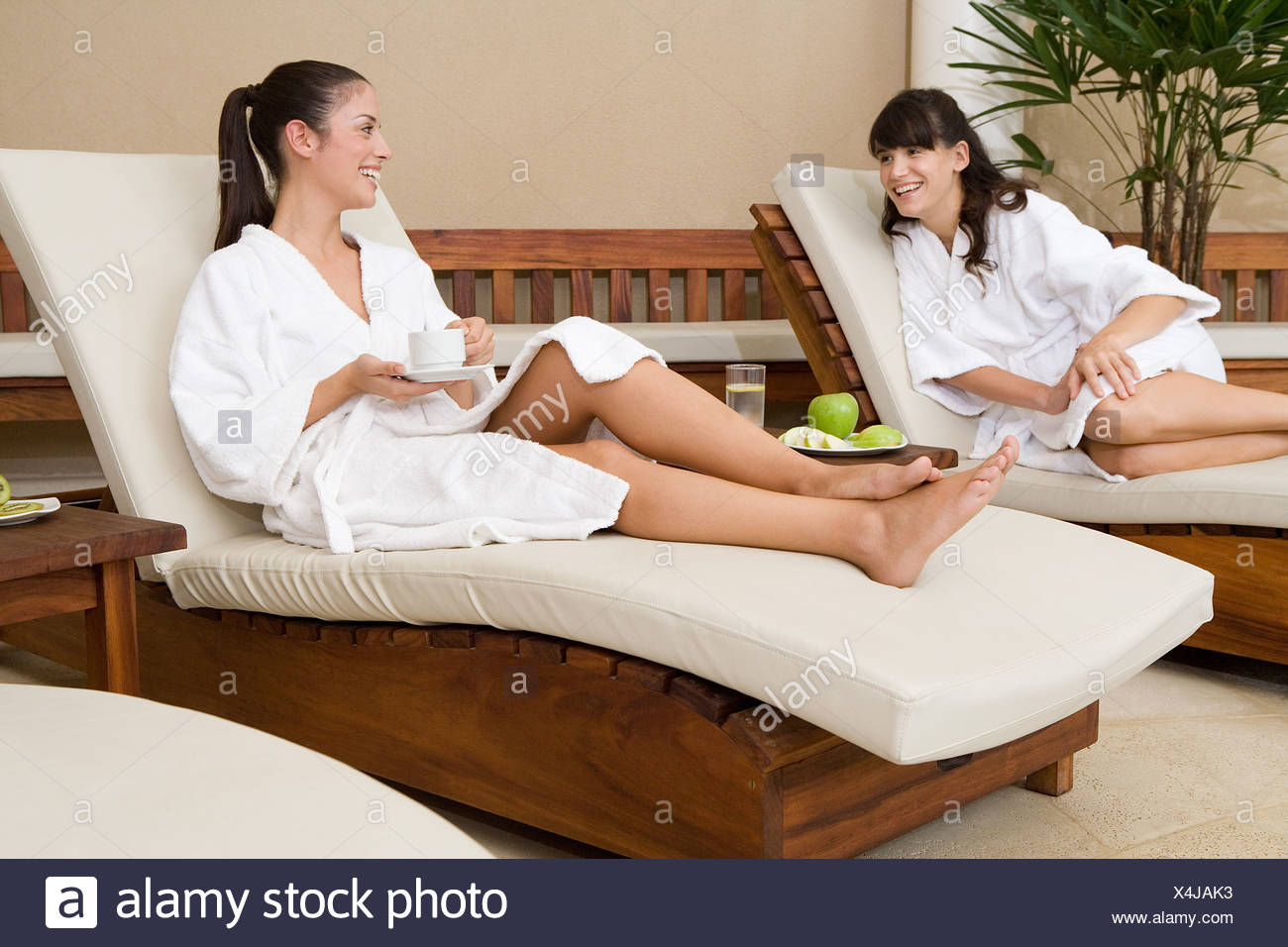 Women relaxing at spa Stock Photo