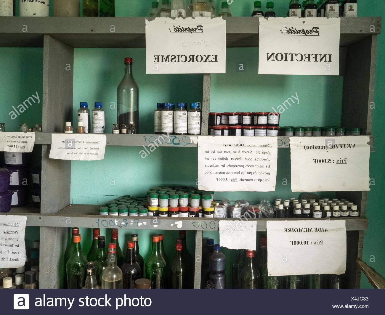 An assortment of traditional medicines prescribed for a variety of ailments, such as stress, infection, as memory aids and for exorcism. - Stock Image
