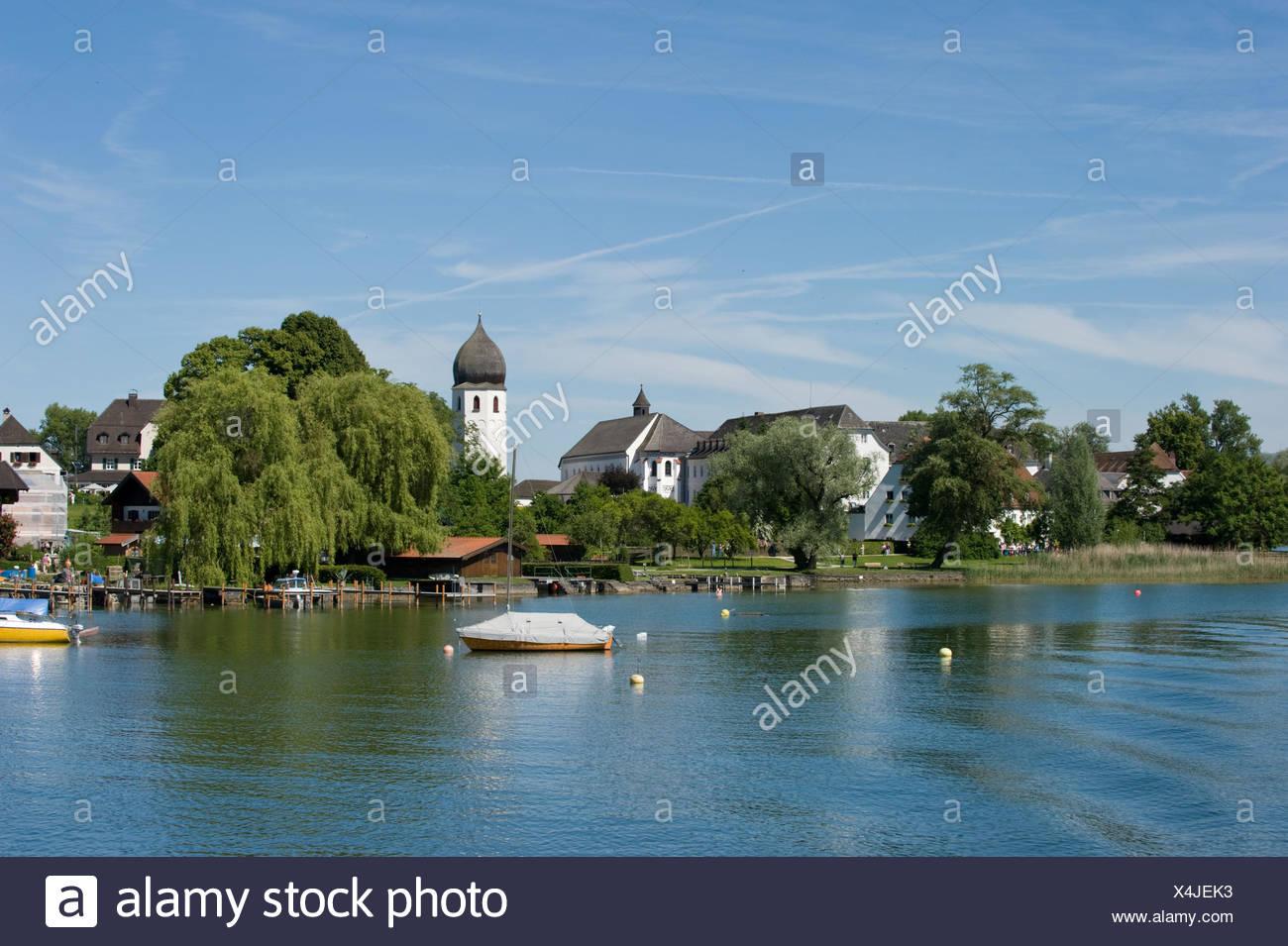 bavaria horizontal landscape format chiemsee island girl chiemgau kloster frauenchiemsee frauenworth Stock Photo