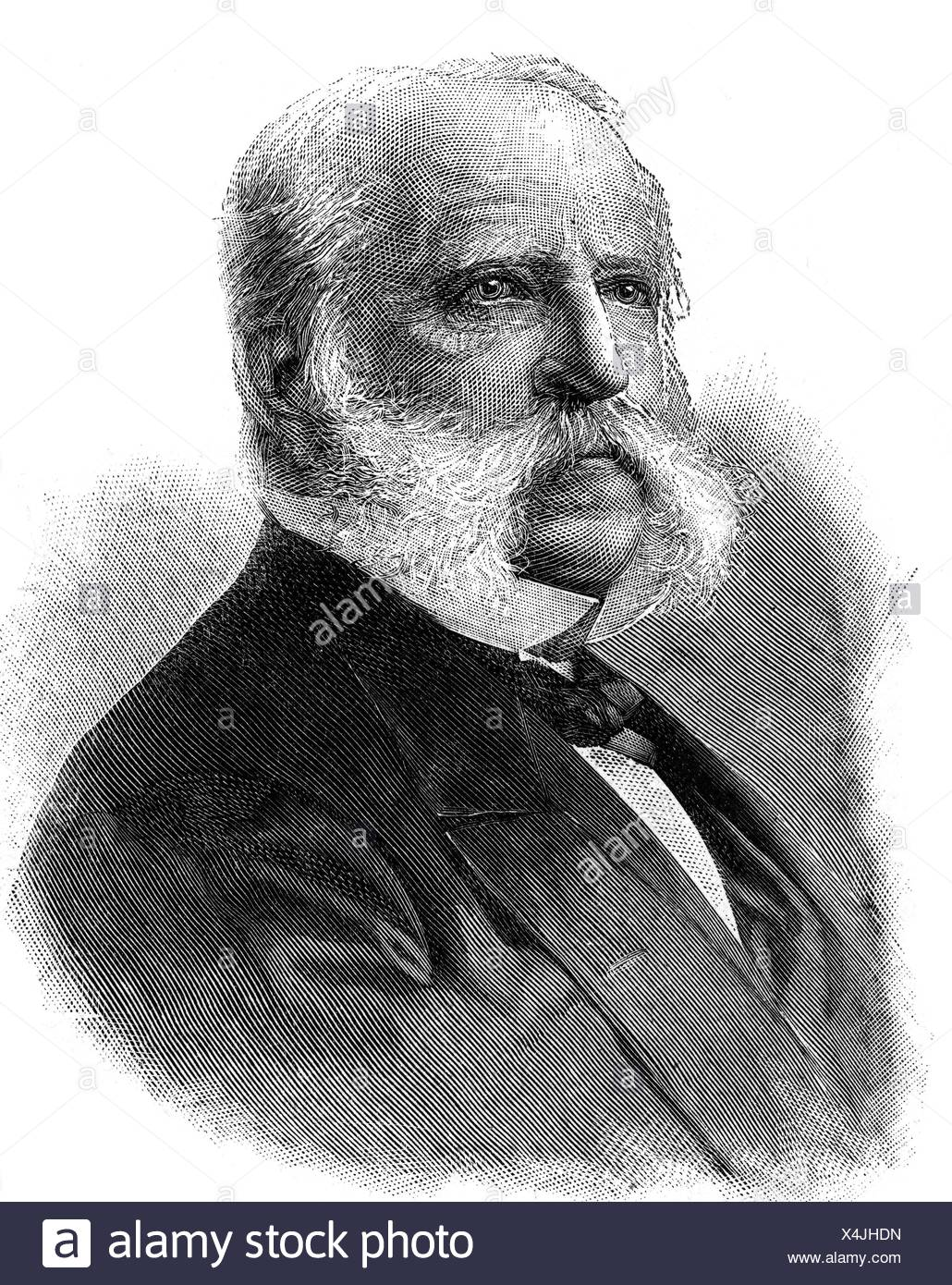 Ottendorfer, Oswald, 26.2.1826 - 15.12.1900, US American journalist of Moravian origin, portrait, wood engraving after photo, late 19th century, Additional-Rights-Clearances-NA - Stock Image