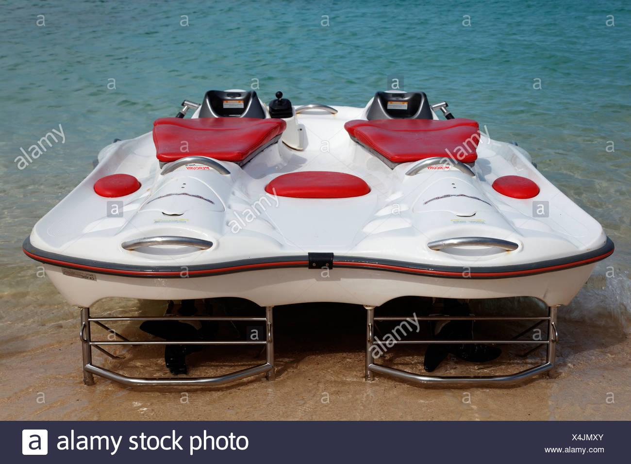 Modern glass bottom boat with electric motor, Beach Mahmya, beach, Giftun Island, Hurghada, Egypt, Africa, Red Sea Stock Photo