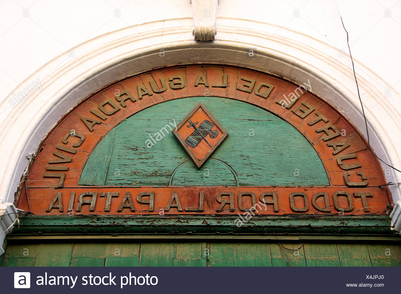 verdict andalusia fatherland vow green wood europe spain facade relief verdict - Stock Image