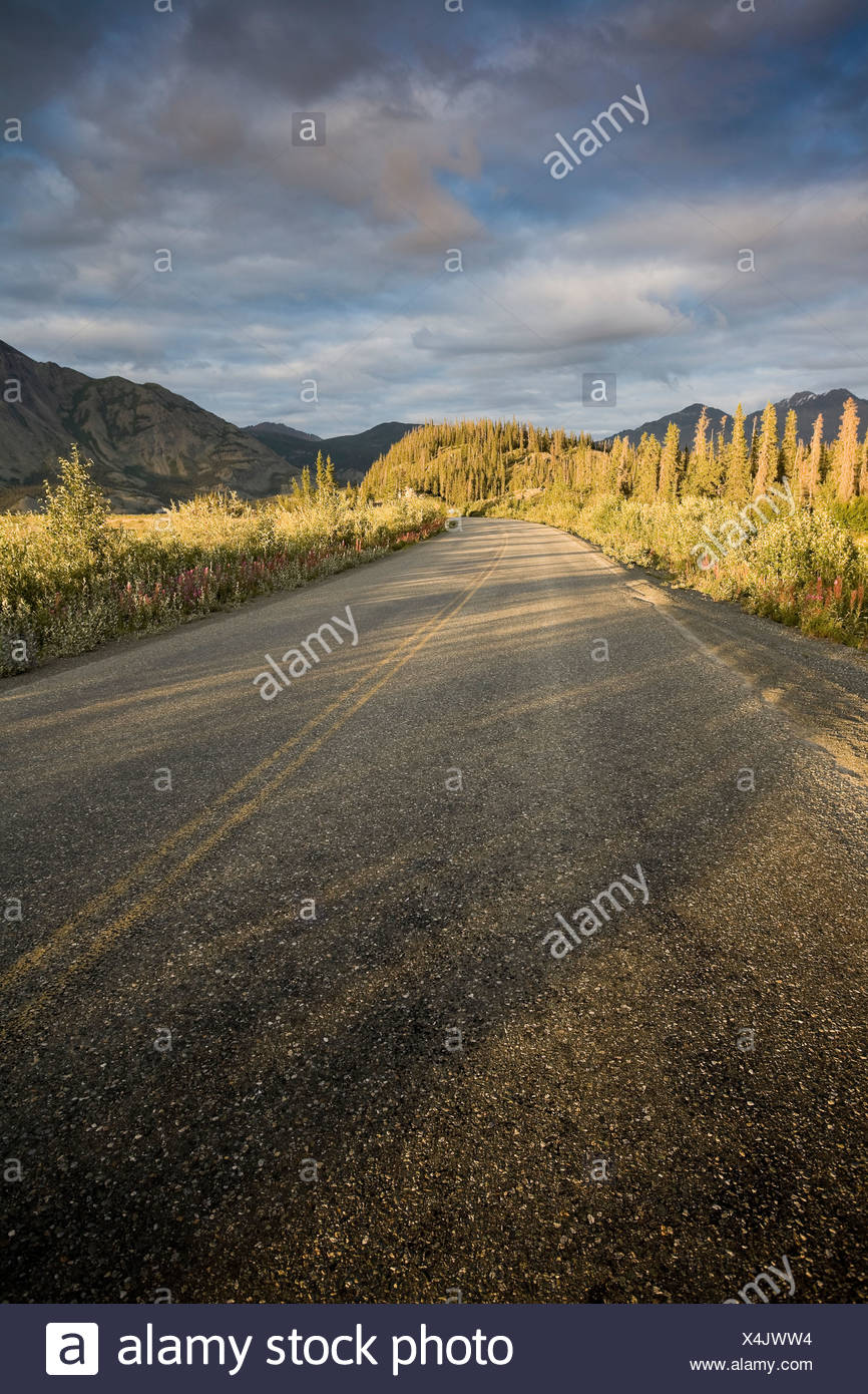 View along AlaskHighway north Slim's River bridge - Stock Image