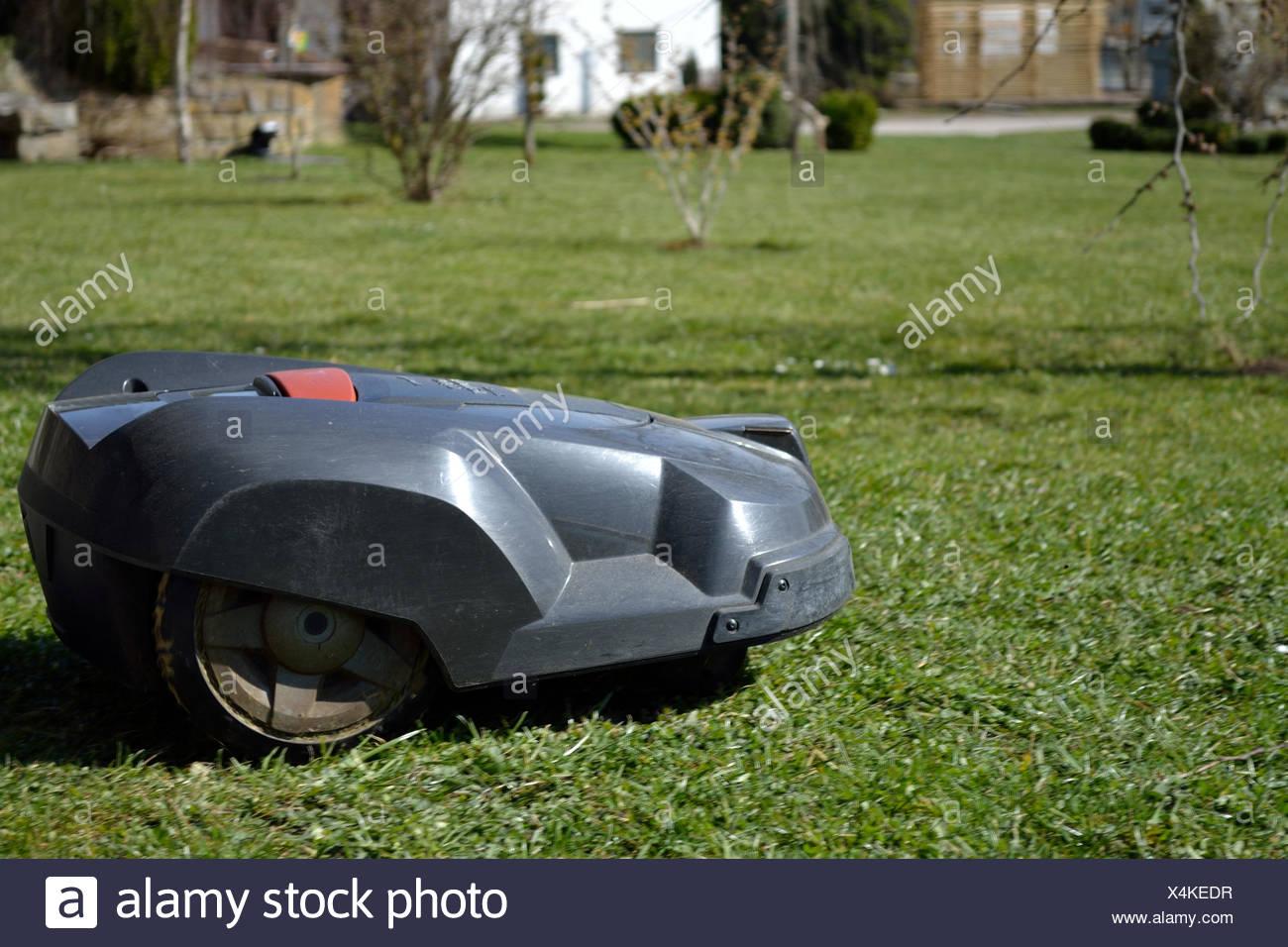 Rasenmaeherroboter sorgt selbststaendig fuer gepflegten Rasen Stock Photo
