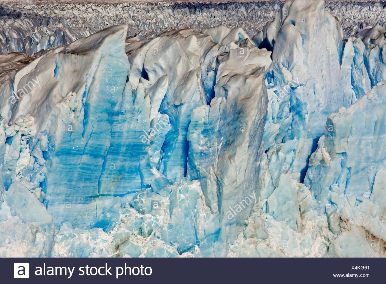 Ice at the glacier Perito Moreno, National Park Los Glaciares, Argentina, Patagonia, South America Stock Photo