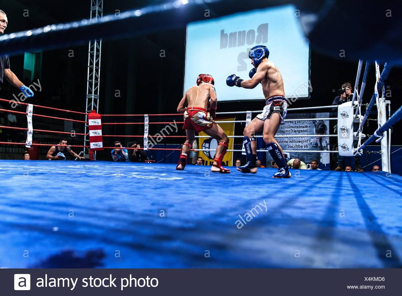 male versus male kickboxing match - Stock Image