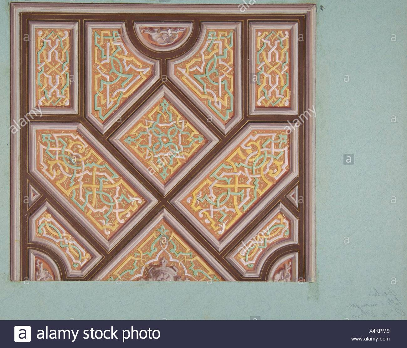 Design for Ceiling Decoration in the Dining Room, Hôtel de Pless, Berlin. Artist: Jules-Edmond-Charles Lachaise (French, died 1897); Artist: - Stock Image