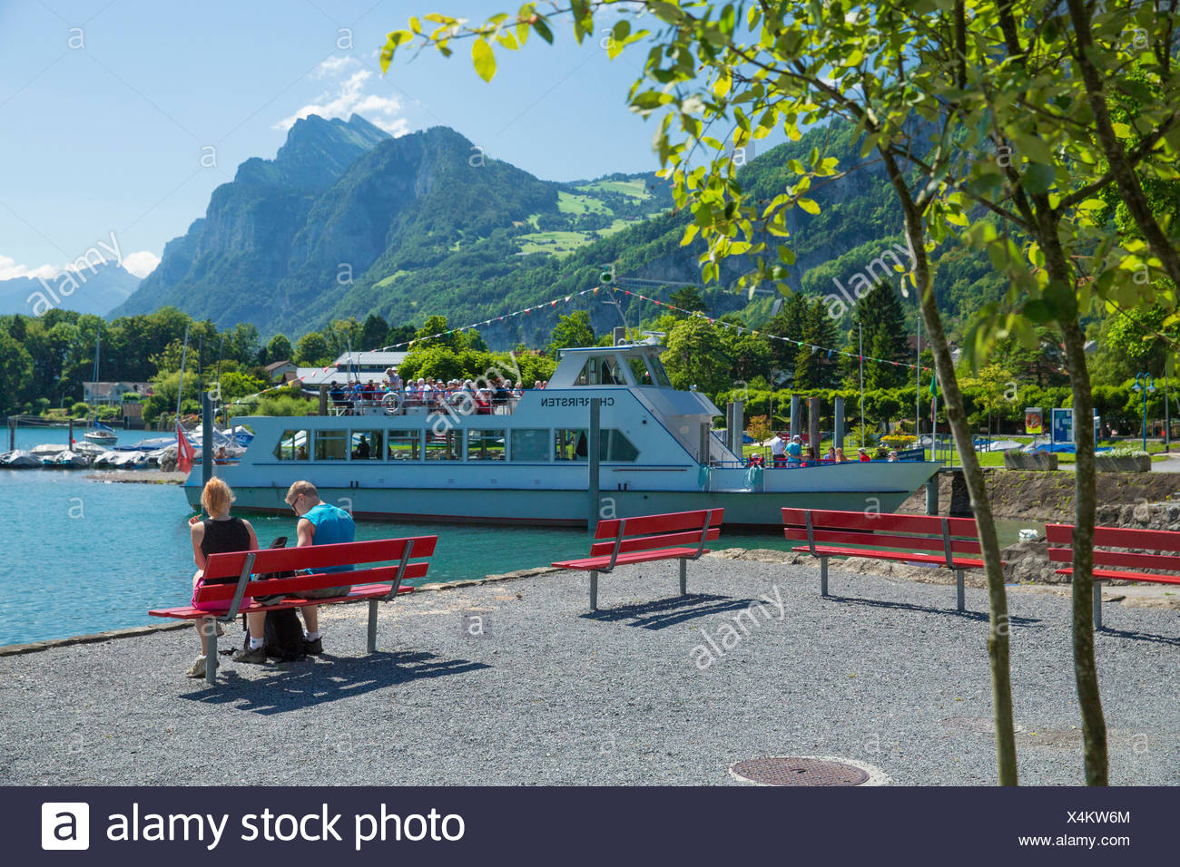 Walensee, harbour, port, Weesen, ship, boat, ships, boats, lake, lakes, SG, canton St. Gallen, Switzerland, Europe, - Stock Image