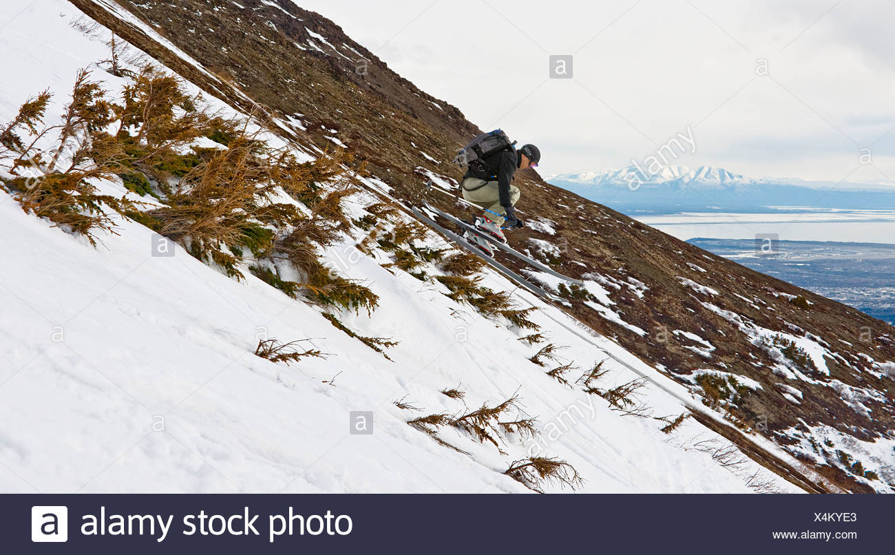 A backcountry skier catches a small air while skiing between shrubs on the side of Peak 3 near Anchorage, Alaska during Spring - Stock Image
