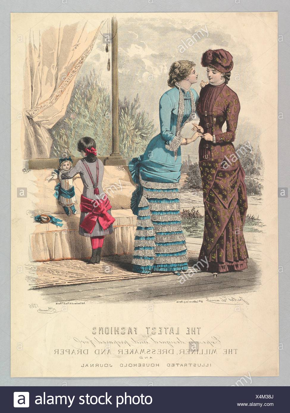 The Latest Fashions Expressly Designed and Prepared for the Milliner, Dressmaker and Draper and Illustrated Household Journal, from Le Moniteur de la - Stock Image