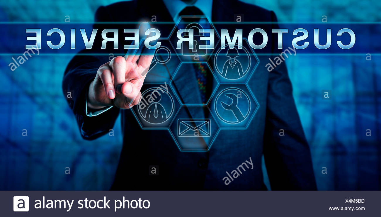 Business Man Pushing CUSTOMER SERVICE - Stock Image