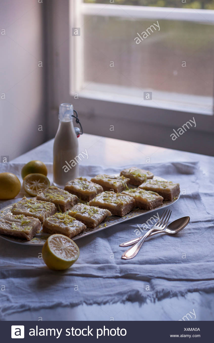 Raw coconut and lemon squares for deesert on a serving plate, sprinkled with lemon zest - Stock Image