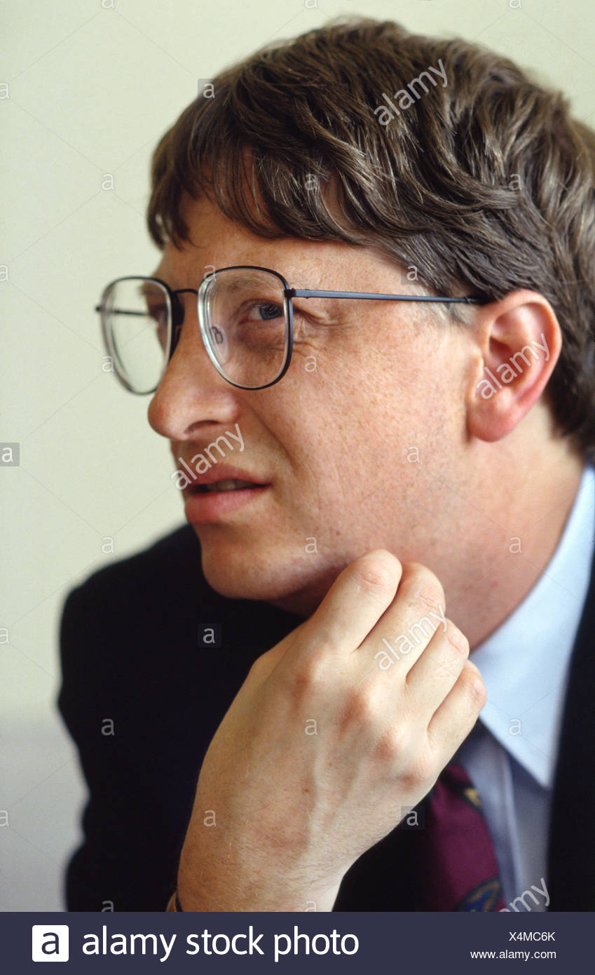 Gates, William, 'Bill', * 28.10.1955, American entrepreneur, (computing), co-founder, of Microsoft, Portrait, Munich, 30.4.1993, , Additional-Rights-Clearances-NA - Stock Image