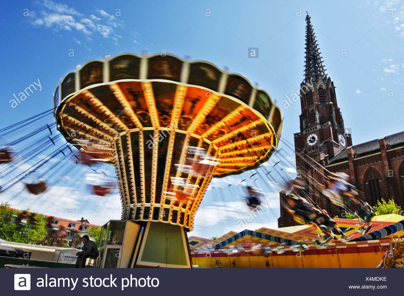 Chair-O-Plane, Auer Dult, traditional market in Munich, Bavaria, Germany, Europe Stock Photo
