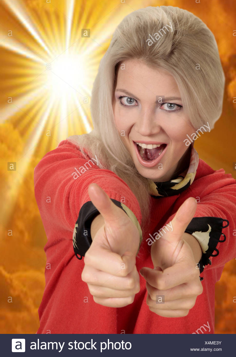 woman says O.K. - Stock Image
